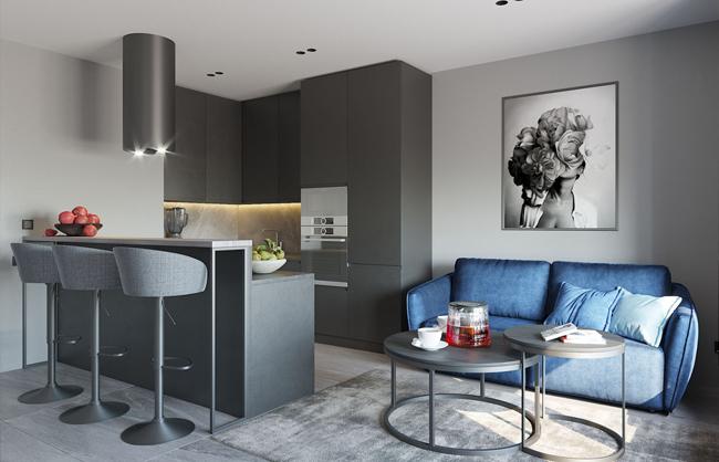 Дизайн інтер'єру квартири-студії в ЖК